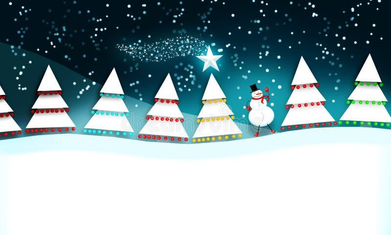 Escena de la Navidad con el muñeco de nieve stock de ilustración