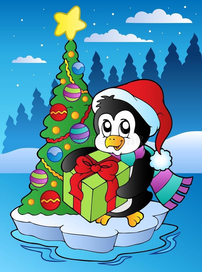 Escena de la Navidad con el pingüino libre illustration