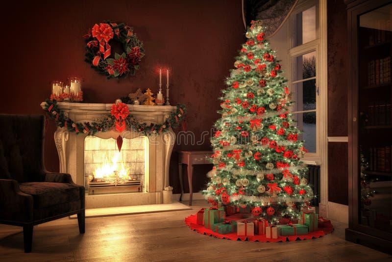 Escena de la Navidad con los regalos y el fuego en fondo libre illustration