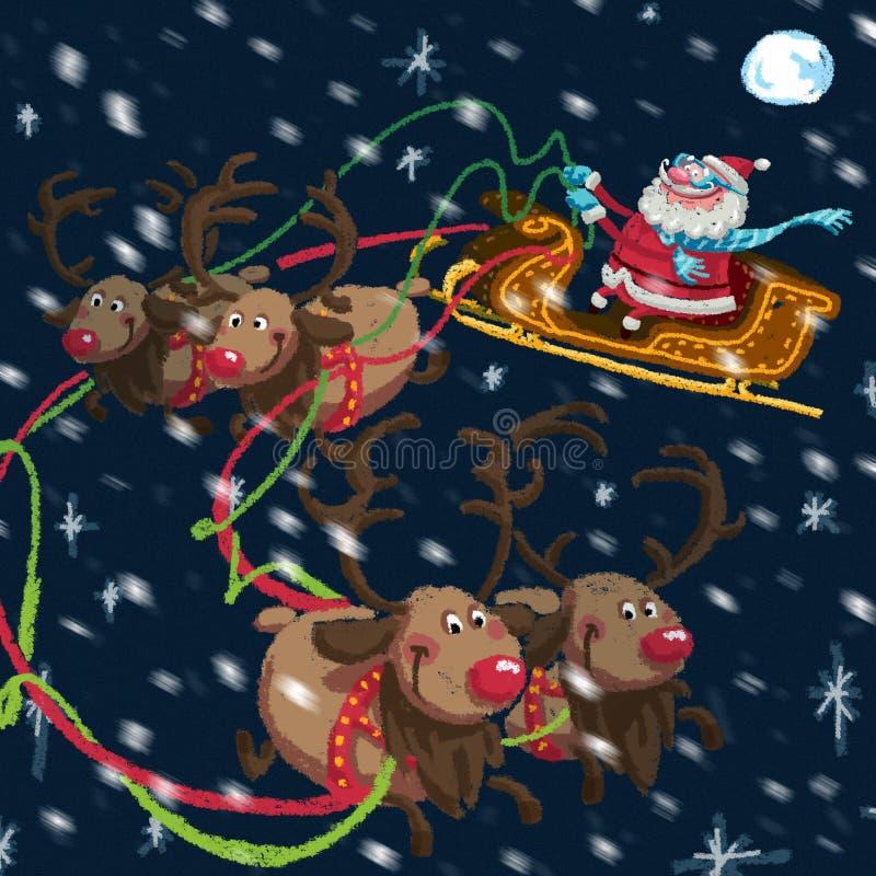 Escena de la Navidad de la historieta Santa Claus con el trineo y los renos ilustración del vector