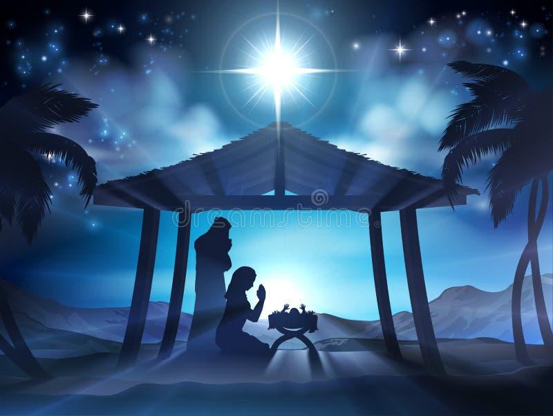Escena de la Navidad de la natividad del pesebre stock de ilustración