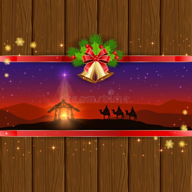 Escena de la Navidad en fondo de madera con las campanas y el arco stock de ilustración