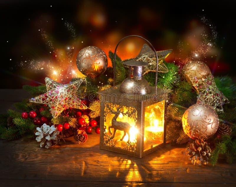 Escena de la Navidad. Tarjeta de felicitación fotografía de archivo libre de regalías