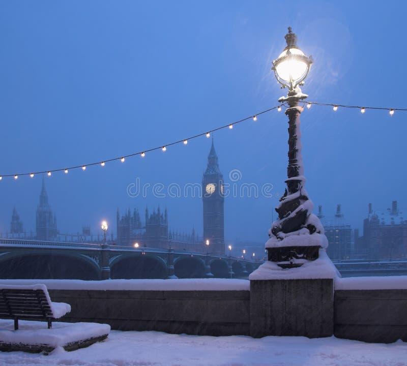 Escena de la nieve del horizonte de Londres fotografía de archivo
