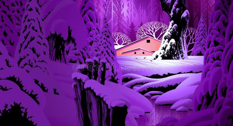 Escena de la nieve del invierno con el granero ilustración del vector