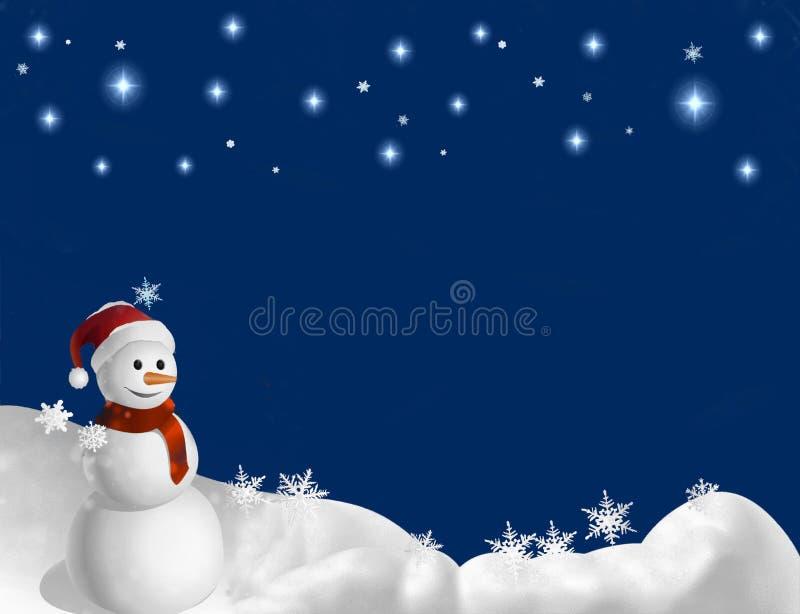 Escena de la nieve del invierno del muñeco de nieve ilustración del vector