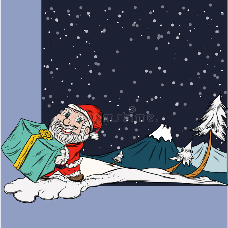 Escena de la nieve del invierno, diversión Santa Character en la Navidad stock de ilustración