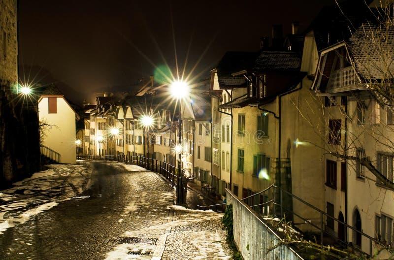 Escena de la noche; Aarau fotografía de archivo