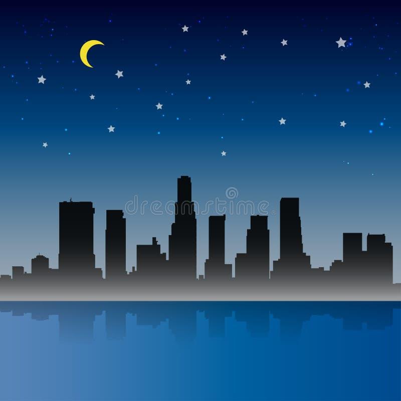 Escena de la noche de la ciudad de Los Ángeles ilustración del vector