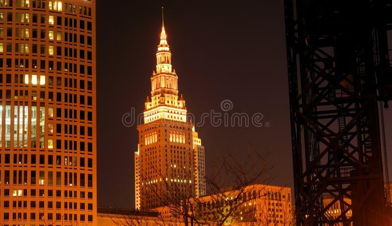 Escena de la noche de Cleveland foto de archivo