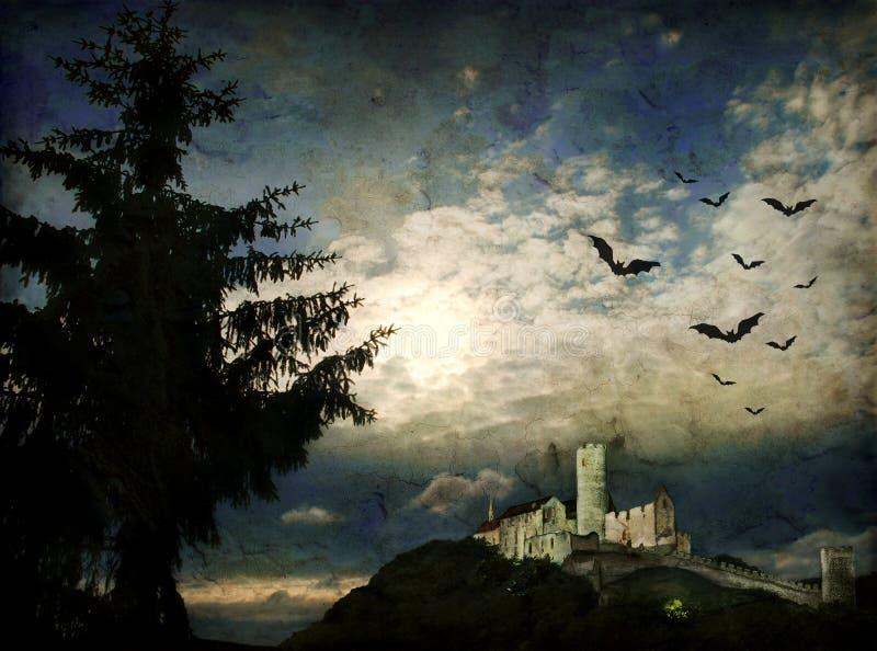 Escena de la noche de Grunge con claro de luna foto de archivo