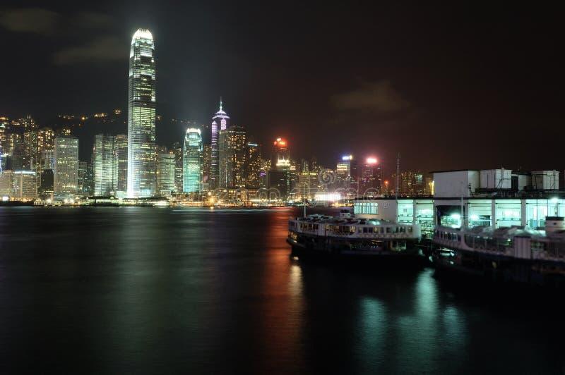 Escena de la noche de Hong-Kong imagenes de archivo