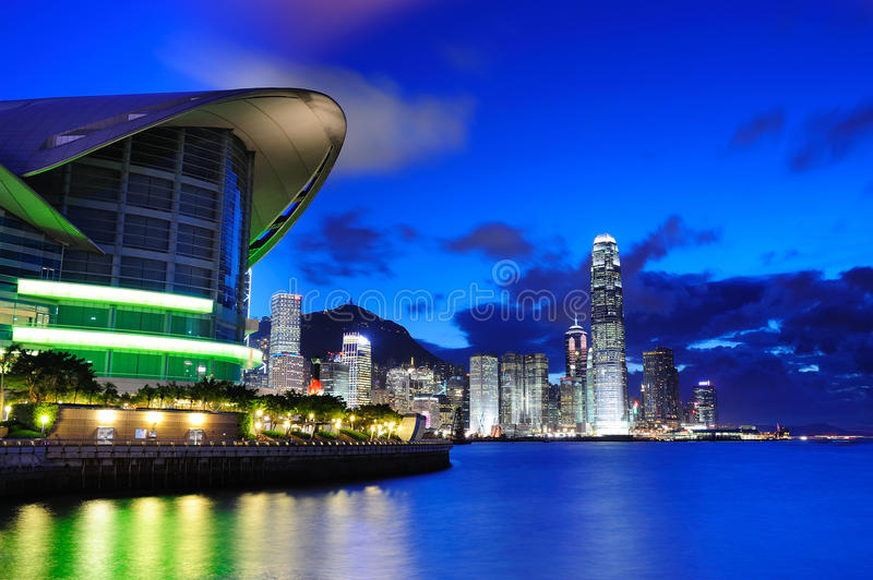 Escena de la noche de Hong-Kong fotos de archivo libres de regalías
