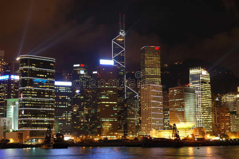 Escena de la noche de Hong-Kong fotografía de archivo libre de regalías