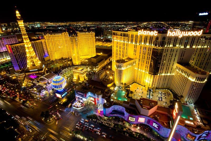 Escena de la noche de la tira de Las Vegas foto de archivo