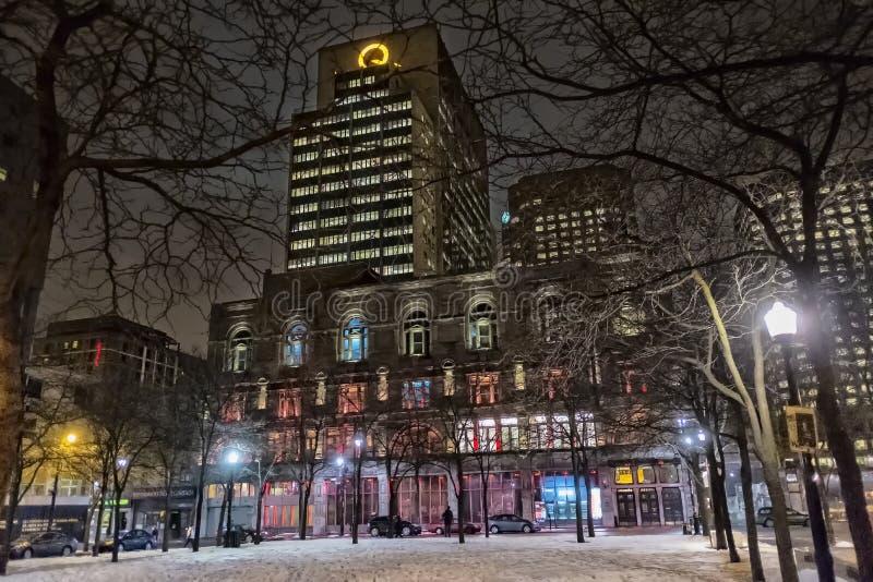 Escena de la noche de Montreal fotografía de archivo