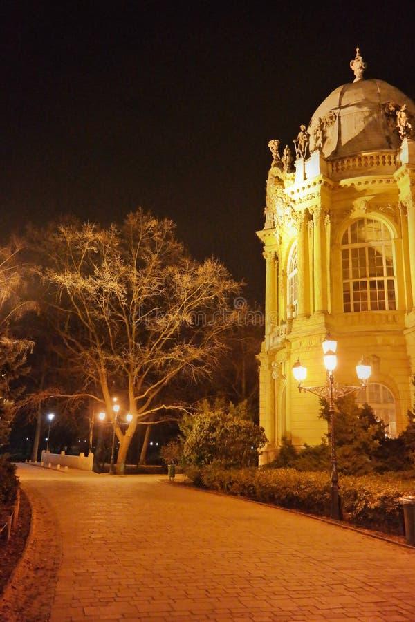 Escena de la noche del castillo 4, Budapest, Hungría de Vajdahunyad imagenes de archivo