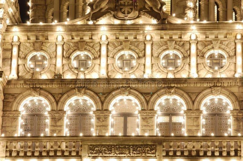 Escena de la noche del edificio del parlamento foto de archivo