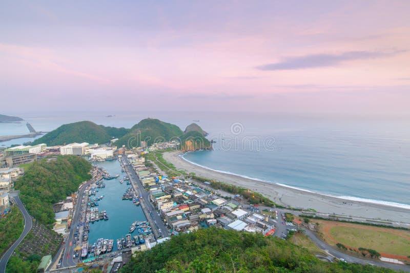 Escena de la noche del puerto de Suao en Taiwán imágenes de archivo libres de regalías