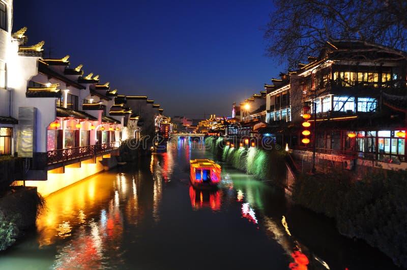 Escena de la noche del río de Qinhui en Nanjing China fotos de archivo