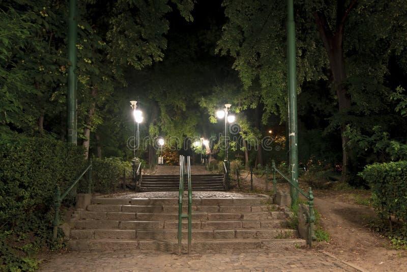 Escena de la noche en el parque de Cismigiu, Bucarest, en la entrada de la calle de Stirbei Voda imagen de archivo