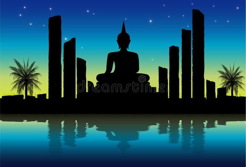 Escena de la noche en el parque histórico de Sukhothai stock de ilustración