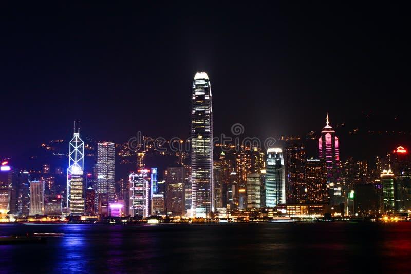 Escena de la noche en Hong-Kong fotografía de archivo libre de regalías
