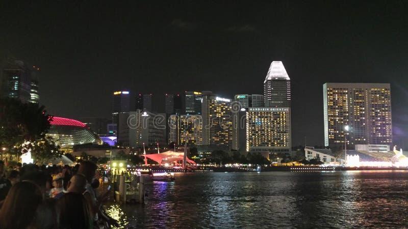 Escena de la noche en Marina Sand Bay foto de archivo