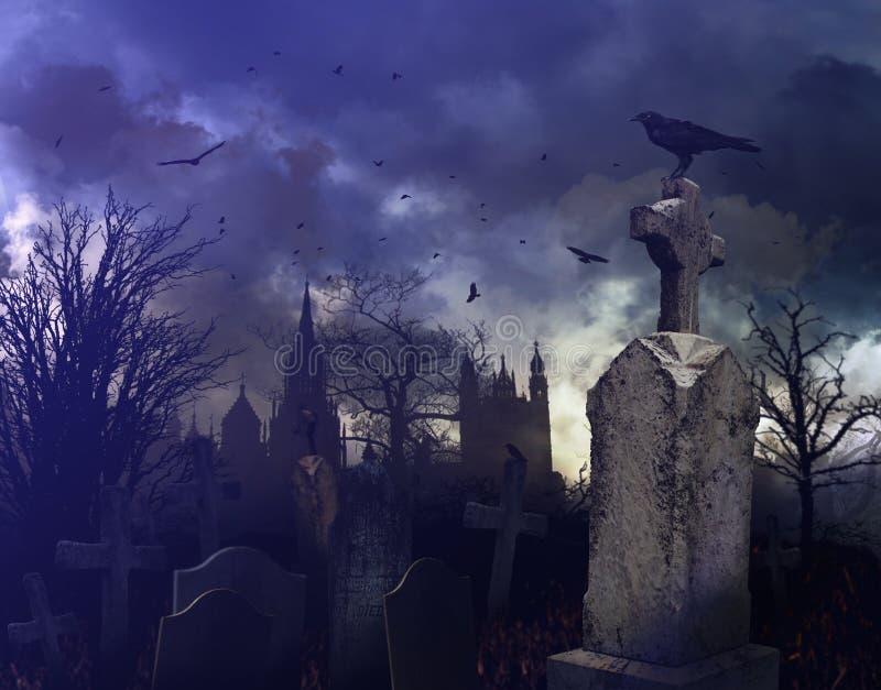 Escena de la noche en un cementerio fantasmagórico ilustración del vector