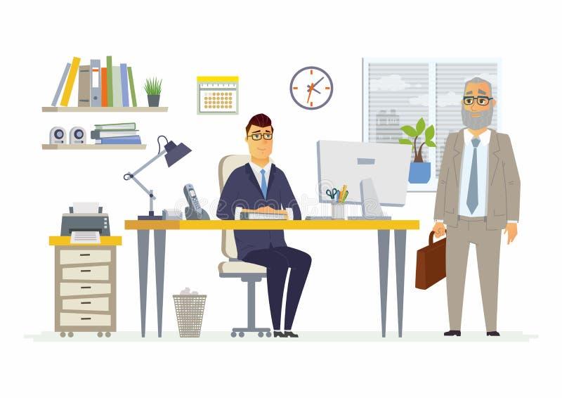 Escena de la oficina - ejemplo moderno de los caracteres del negocio de la historieta del vector ilustración del vector