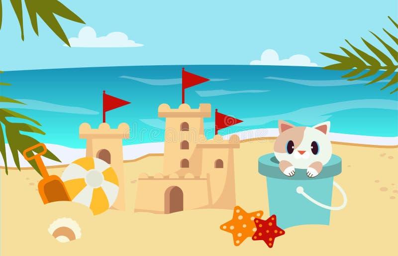 Escena de la playa con la arena del castillo, gato en el tanque libre illustration