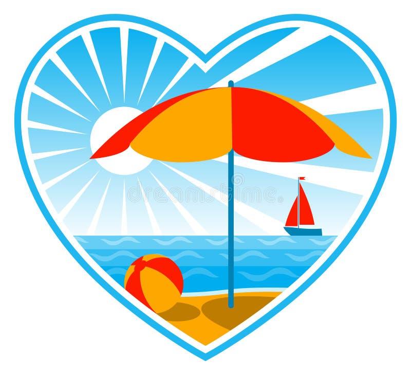 Escena de la playa en corazón ilustración del vector