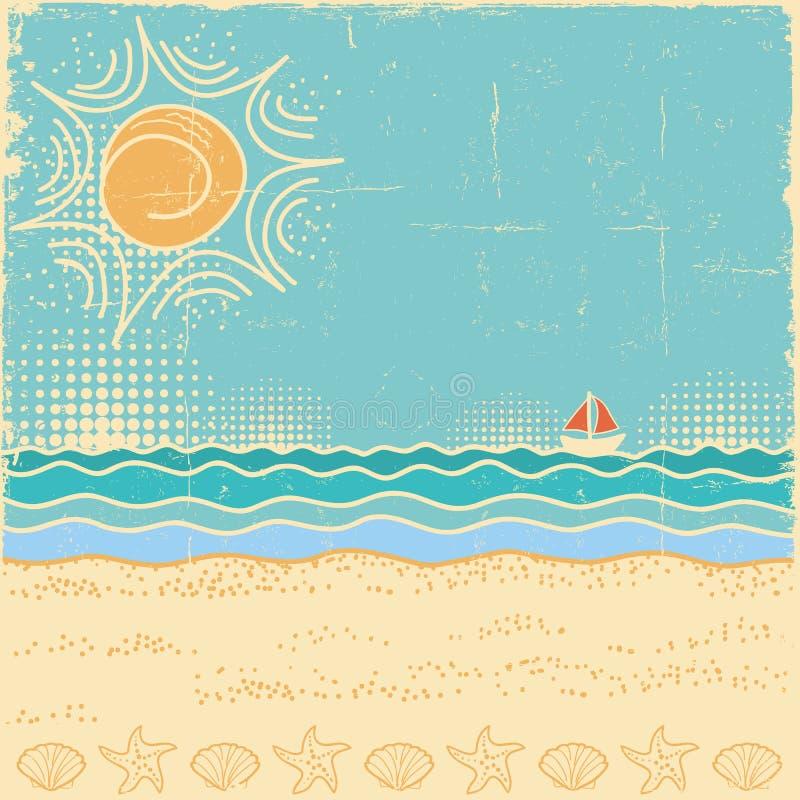 Escena de la playa Paisaje del mar del vintage con las ondas y el cielo del sol ilustración del vector