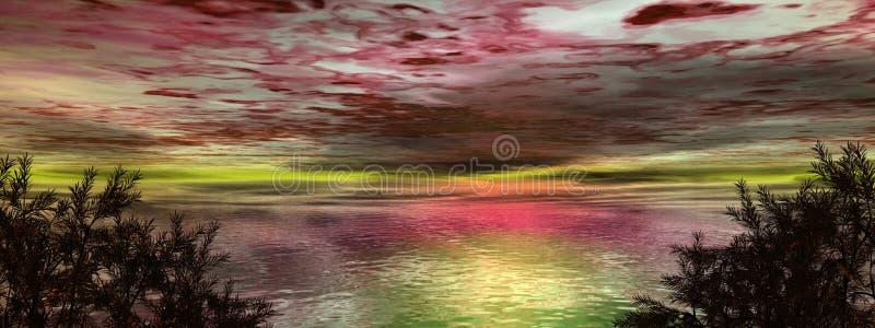 Escena de la puesta del sol con el cielo extranjero ilustración del vector