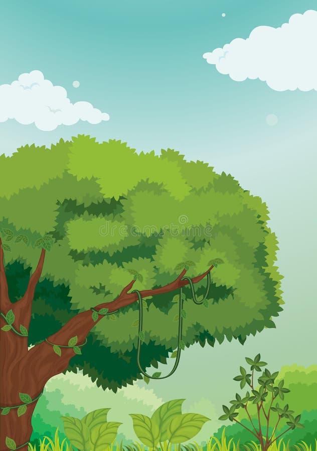 Escena de la selva stock de ilustración
