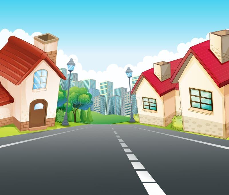 Escena de la vecindad con muchas casas a lo largo del camino ilustración del vector