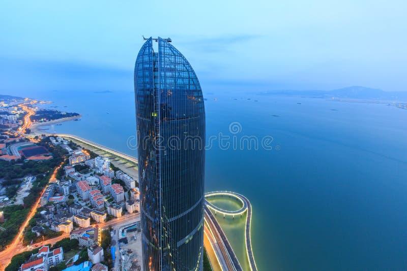 Escena de las torres gemelas de Xiamen Petronas, China fotos de archivo libres de regalías