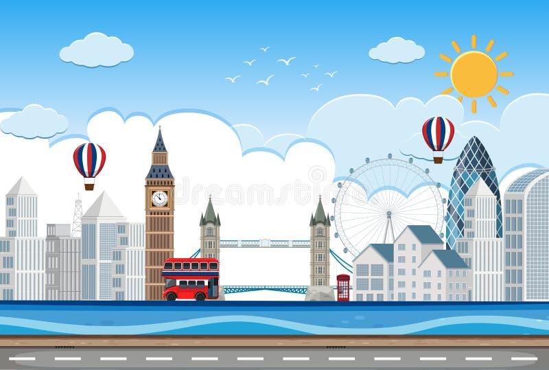 Escena de lin de la ciudad de Londres ilustración del vector