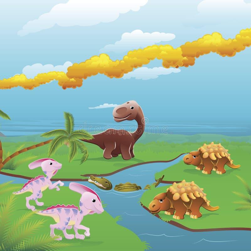 Escena de los dinosaurios de la historieta. ilustración del vector