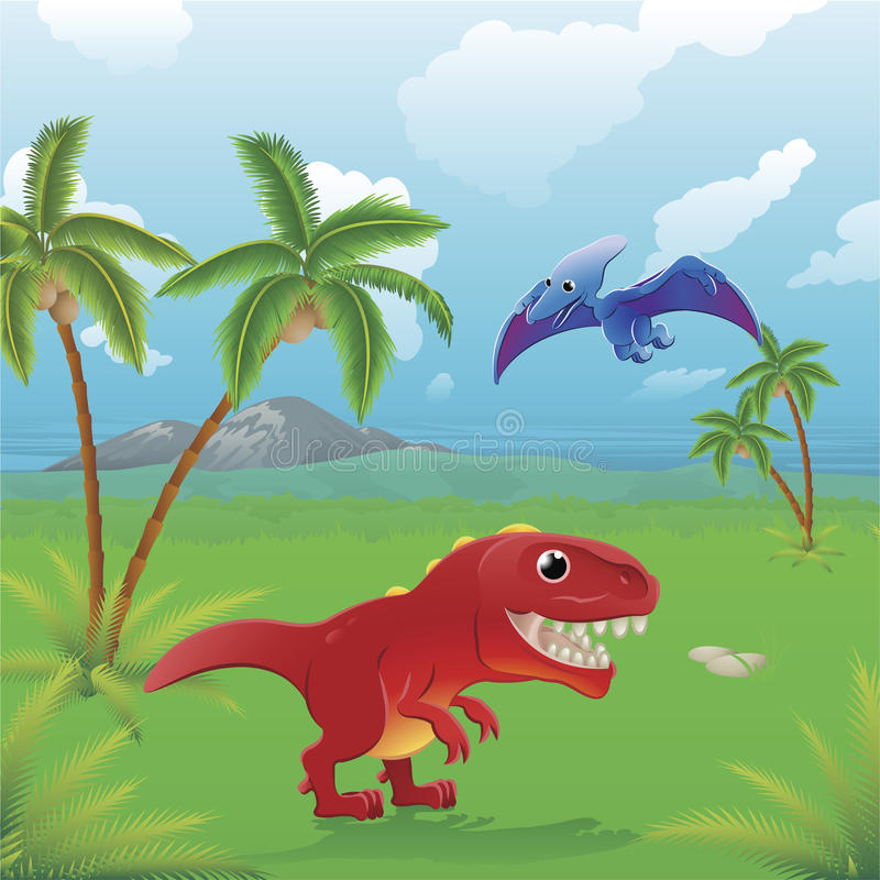 Escena de los dinosaurios de la historieta. stock de ilustración