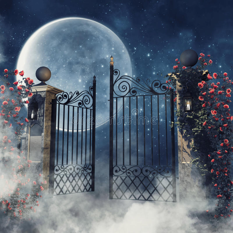 Escena de niebla con una puerta gótica stock de ilustración