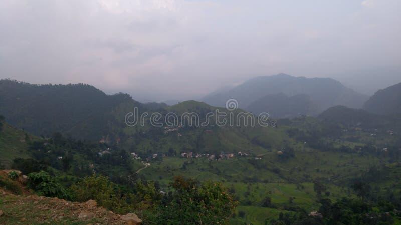 Escena de Pithoragarh India, aldea imagenes de archivo