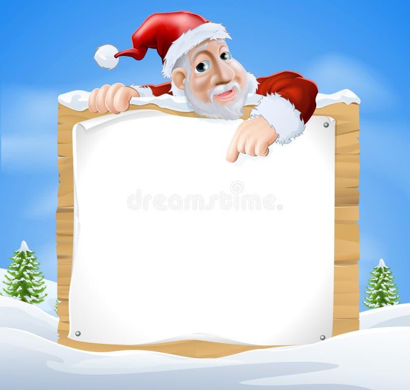 Escena de Santa Claus Sign Winter ilustración del vector