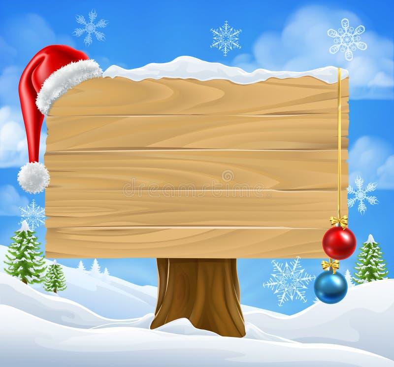 Escena de Santa Hat Baubles Winter Snow de la muestra de la Navidad stock de ilustración