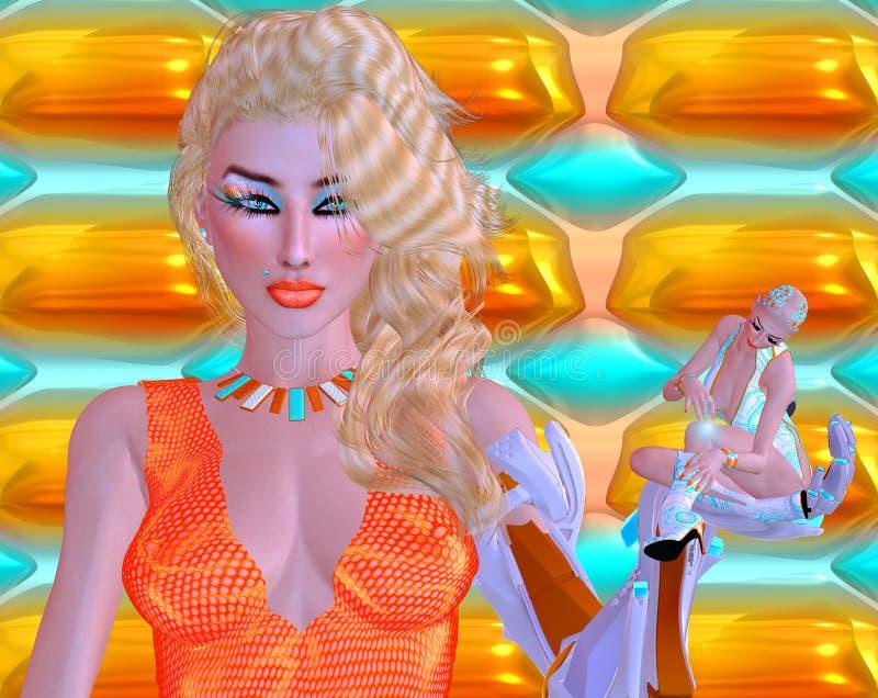 Escena de Sci fi de una mujer con un brazo robótico que soporta un robot miniatura del humanoid ilustración del vector