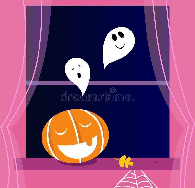 Escena de Víspera de Todos los Santos de la ventana con los fantasmas. stock de ilustración