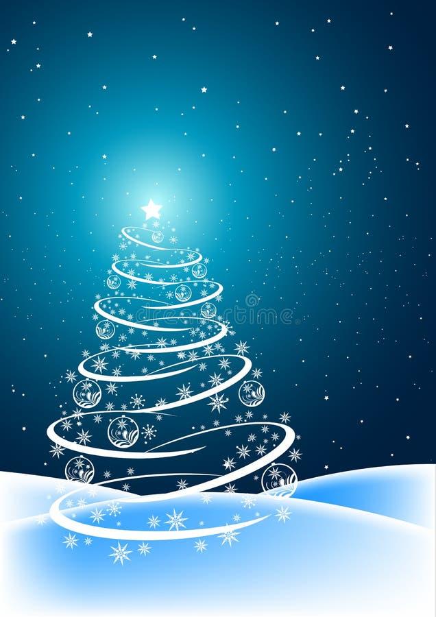 Escena del árbol de navidad stock de ilustración