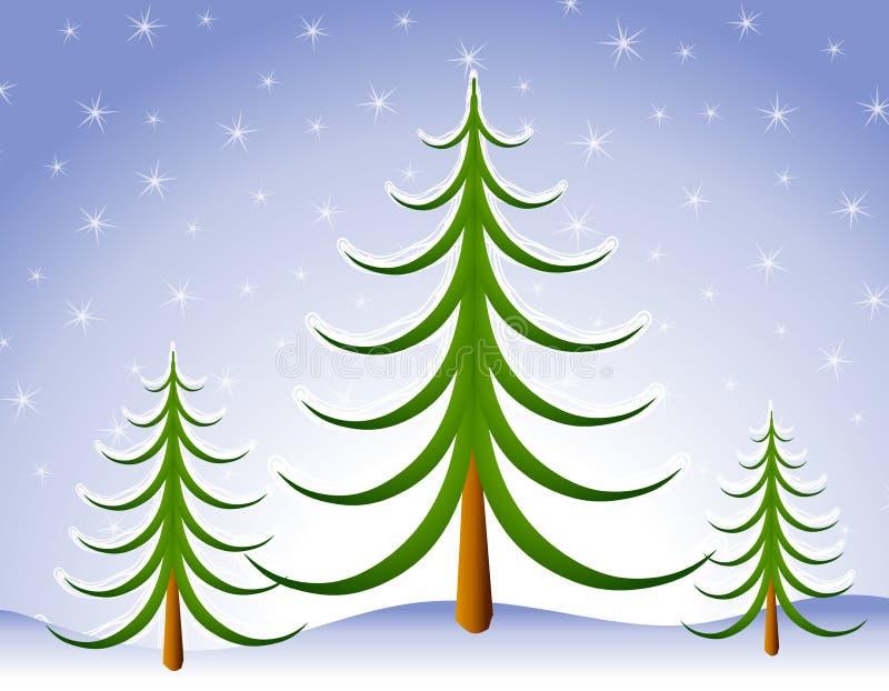 Escena del árbol de navidad del invierno en nieve fotografía de archivo