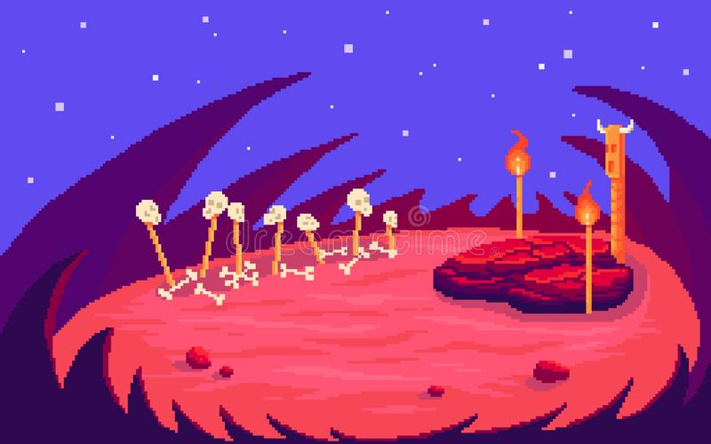 Escena del arte del pixel para la batalla del jefe de la incursión stock de ilustración