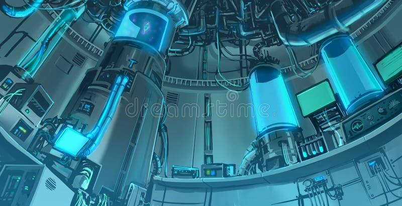 Escena del banckground del ejemplo de la historieta del labora masivo de la ciencia stock de ilustración